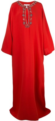 Carolina Herrera Embellished Neckline Kaftan Dress