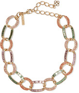 Oscar de la Renta Burnished gold-tone crystal necklace