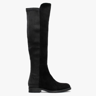 Df By Daniel Rover Black Ribbed Back Suedette Over The Knee Boots