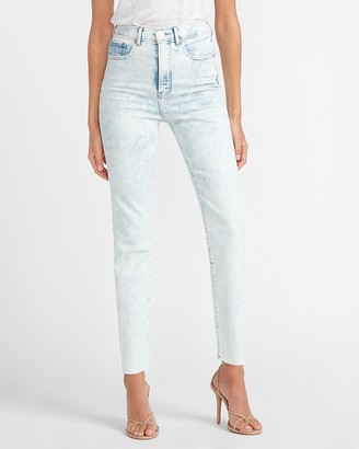 Express Super High Waisted Acid Wash Raw Hem Slim Ankle Jeans