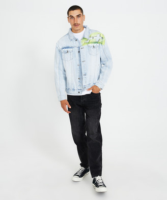 Ksubi Oh G Denim Jacket Stoked Blue/Neon