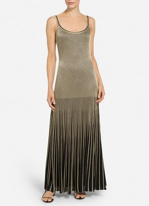 St. John Gold Cable Stripe Knit Gown