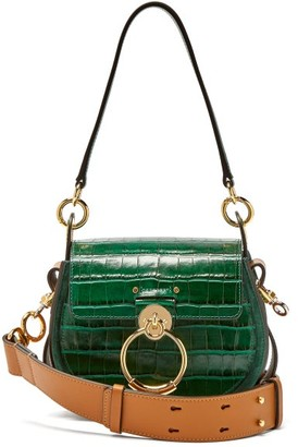 Chloé Tess Small Crocodile-effect Leather Cross-body Bag - Womens - Green