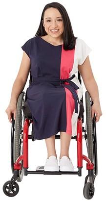 Tommy Hilfiger Adaptive Pieced Short-Sleeve Dress (Masters Navy/Azalea/Snow White) Women's Clothing