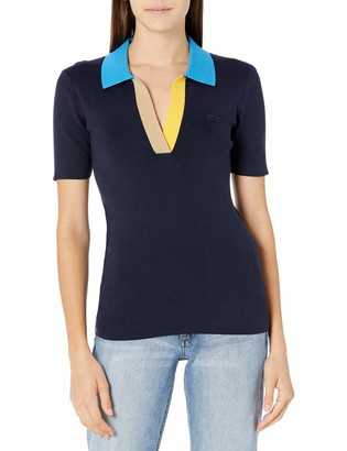 Lacoste Women's Short Sleeve Colorblock Collar Buttonless Polo Shirt
