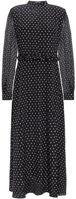 Markus Lupfer Alannah Printed Crepon-paneled Printed Silk Crepe De Chine Midi Dress