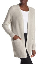 Modern Designer Marled Open Front Elbow Patch Cardigan