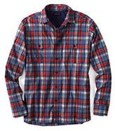 Classic Men's Tall Pattern Active Shirt-Hot Tangerine/Blue Plaid