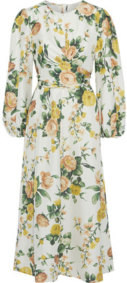 Zimmermann Zippy Wrap-effect Floral-print Silk Midi Dress