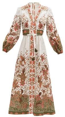 Zimmermann Empire Batik-print Linen-poplin Midi Dress - White Print
