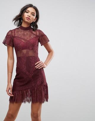 Asos Design Delicate Patchwork Lace Mini Dress with Asymmetric Hem