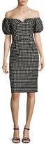 Nanette Lepore Cheeky Off-the-Shoulder Check Sheath Dress, Black