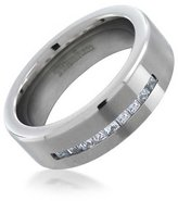 Bling Jewelry Titanium Channel Set Mens Wedding Band Ring
