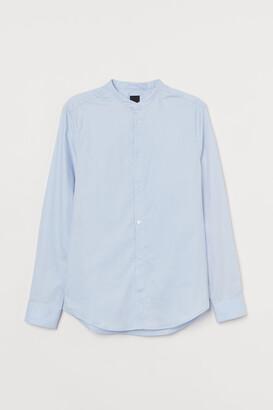 H&M Band-collar Shirt Slim fit - Blue