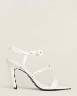 Calvin Klein White Gemima Strappy Leather Sandals