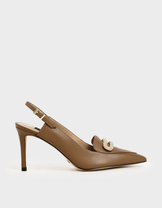 Charles & KeithCharles & Keith Leather Metallic Accent Court Shoes
