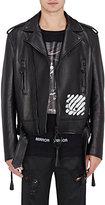 Off-White Men's Spray-Painted Leather Biker Jacket-BLACK