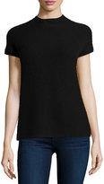 Neiman Marcus Cashmere Raglan Short-Sleeve Pullover Sweater, Black
