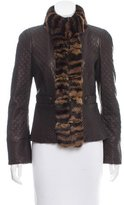 Roberto Cavalli Chinchilla-Trimmed Leather Jacket w/ Tags