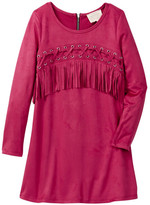 Hannah Banana Long Sleeve Faux Suede Fringe Dress (Toddler & Little Girls)