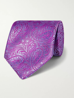 Charvet 8.5cm Paisley-Embroidered Silk Tie