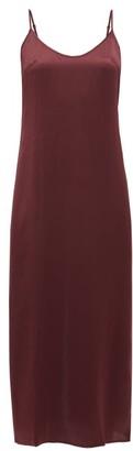 La Perla Scoop Neck Silk Satin Night Dress - Womens - Burgundy
