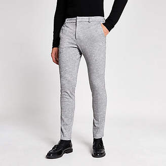 River Island Grey textured super skinny fit smart trousers