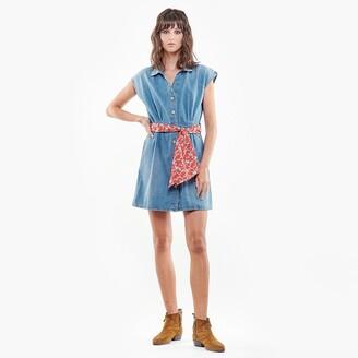 Le Temps Des Cerises Denim Shirt Mini Dress with Short Sleeves