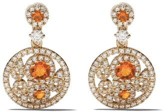 Kiki McDonough 18kt yellow gold Bubbles fire opal and diamond drop earrings