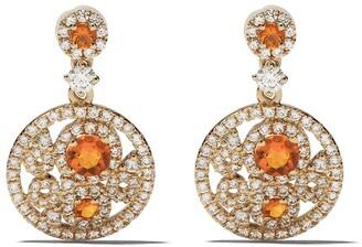 Kiki McDonough 18kt yellow gold Bubbles fire opal and diamond drop earrings