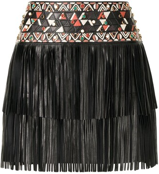 Valentino Pre-Owned Fringed Leather Mini Skirt