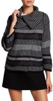 Cable & Gauge 3/4 Length Sleeve Stripe Sweater (Petite)