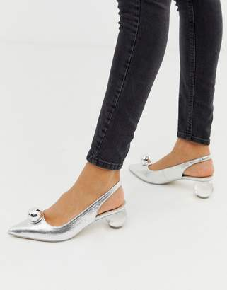 Asos Design DESIGN Sabina block heeled mid shoes in silver