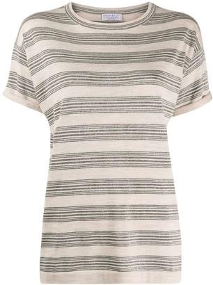 Brunello Cucinelli Glitter Stripe Knit Top