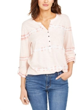 Style&Co. Style & Co Cotton Tie-Dyed Split-Neck Top, Created for Macy's