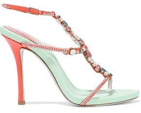 Rene Caovilla Rene' Caovilla Tormaline Embellished Laser-cut Suede, Leather And Satin Sandals