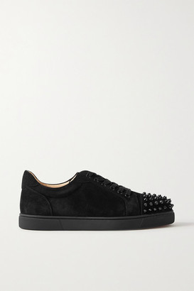 Christian Louboutin Vieira Spiked Suede Sneakers - Black