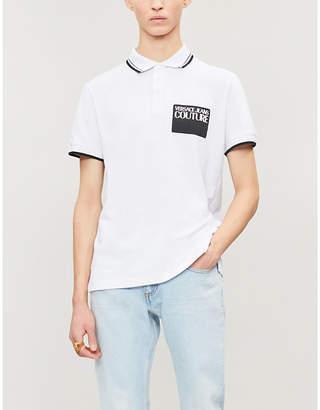 Versace Logo-patch striped-trim cotton polo shirt