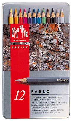 Caran d'Ache Pablo Permanent Colored Pencils in A Durable Metal Box, 12 Color Assortment