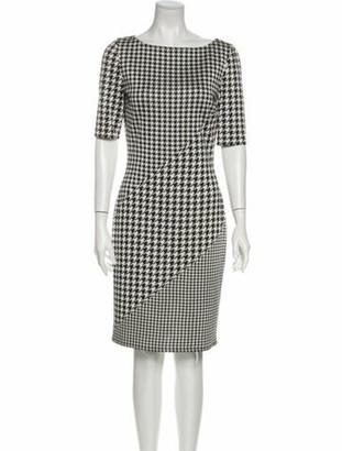 St. John Houndstooth Print Knee-Length Dress White