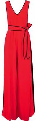 Diane von Furstenberg Satin-trimmed Belted Crepe Jumpsuit