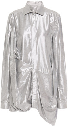Rick Owens Draped Metallic Twill Shirt