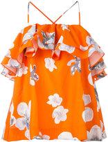 MSGM floral frill halterneck blouse - women - Cotton - 38