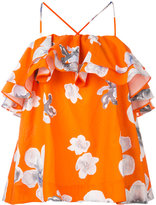 MSGM floral frill halterneck blouse - women - Cotton - 40