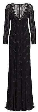 Jenny Packham Women's Geometric Beaded V-Neck Gown