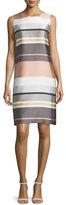 Lafayette 148 New York Twiggy Sleeveless Striped Shift Dress, Rock/Multi