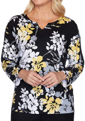 Alfred Dunner Riverside Drive Womens Split Crew Neck Long Sleeve Floral Pullover Sweater