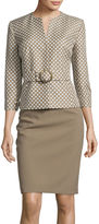 Isabella Collection Long-Sleeve Polka Dot Jacket and Skirt Suit Set