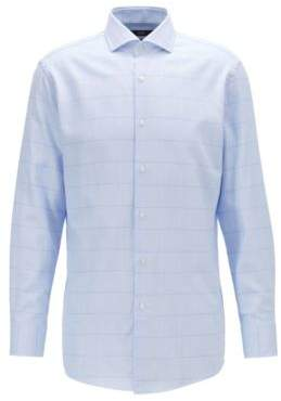 Slim-fit shirt in over-check cotton twill