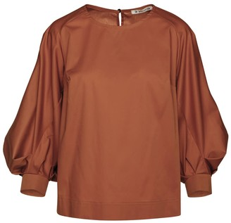 Conquista Chocolate Top With Bishop Sleeves In Sustainable Fabric.
